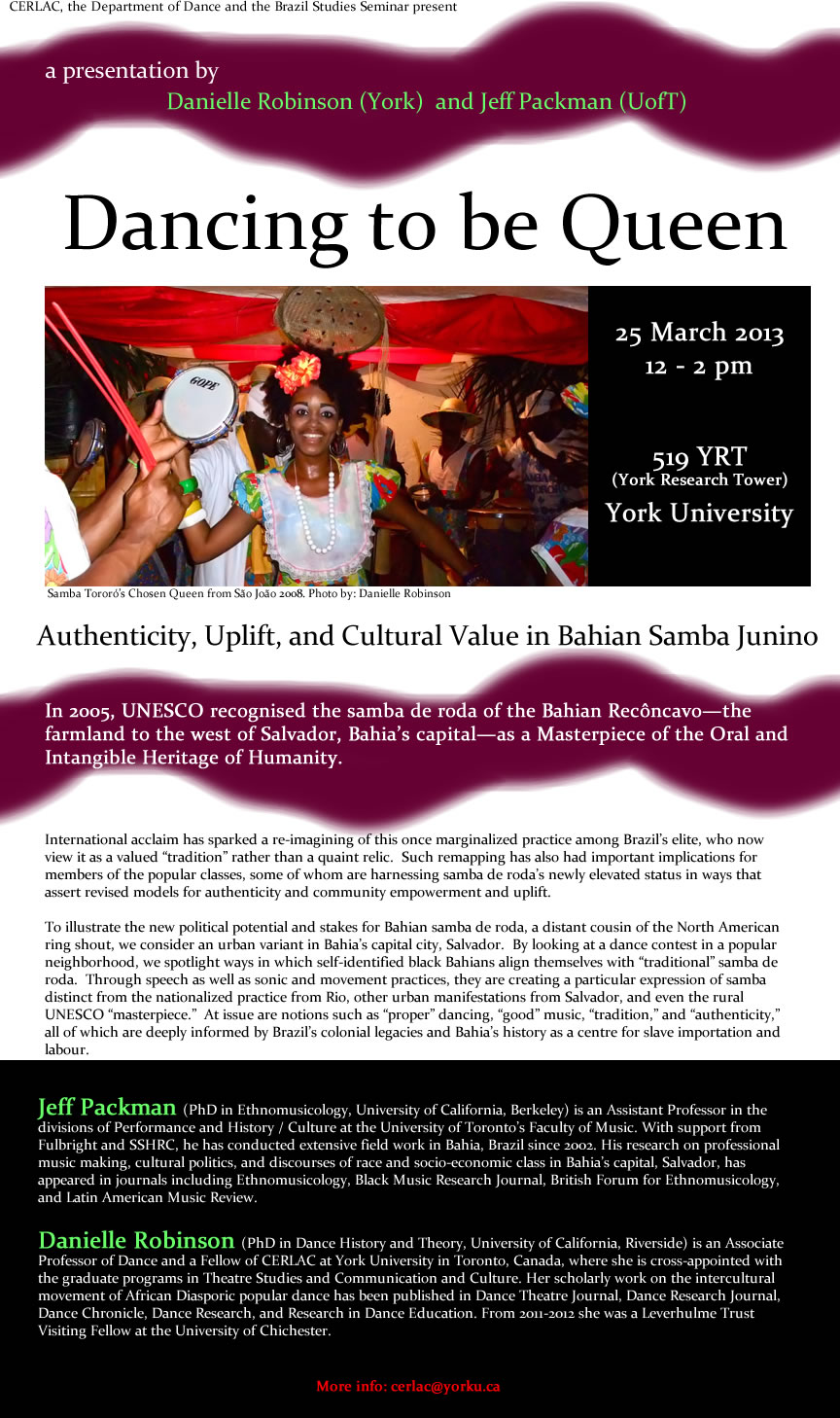 Dancing to be Queen Authenticity, Uplift, & Cultural Value in Bahian Samba Junino