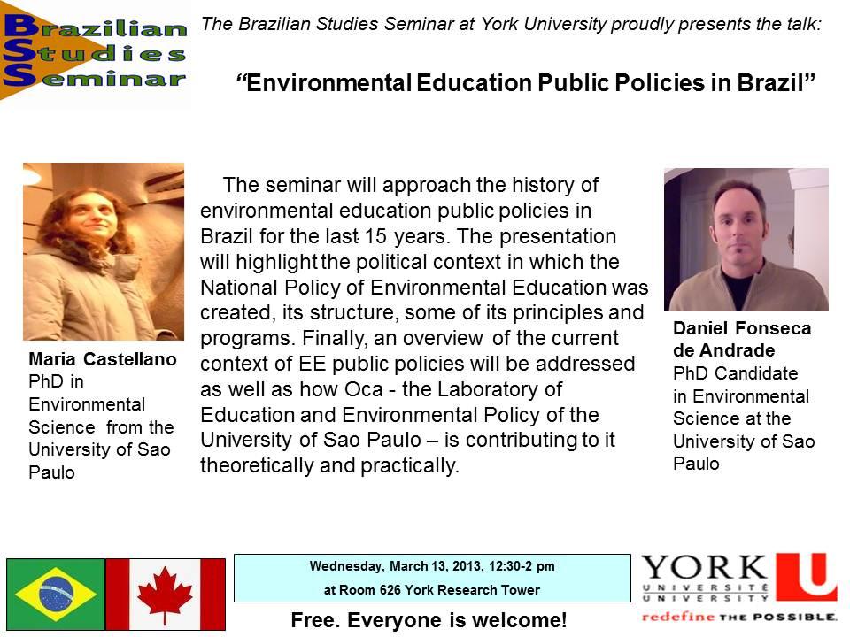 Environmental Education Public Policies in Brazil