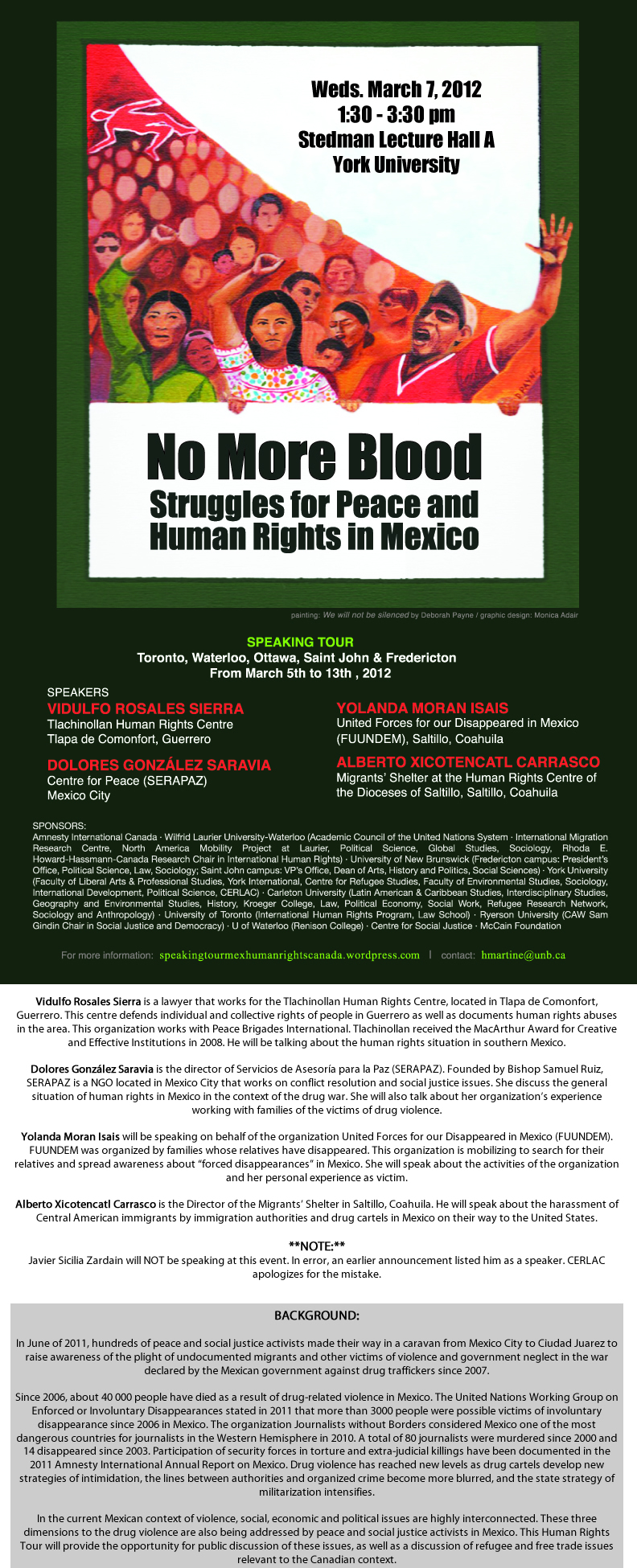No More Blood Struggles for Peace & Human Rights in Mexico