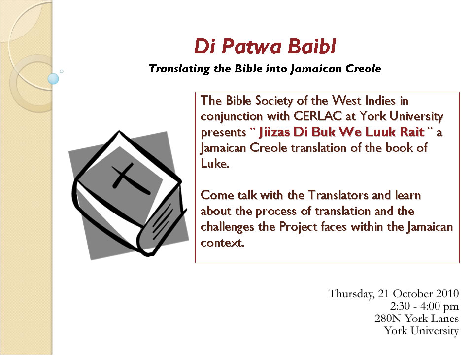 Translating the Bible into Jamaican Creole