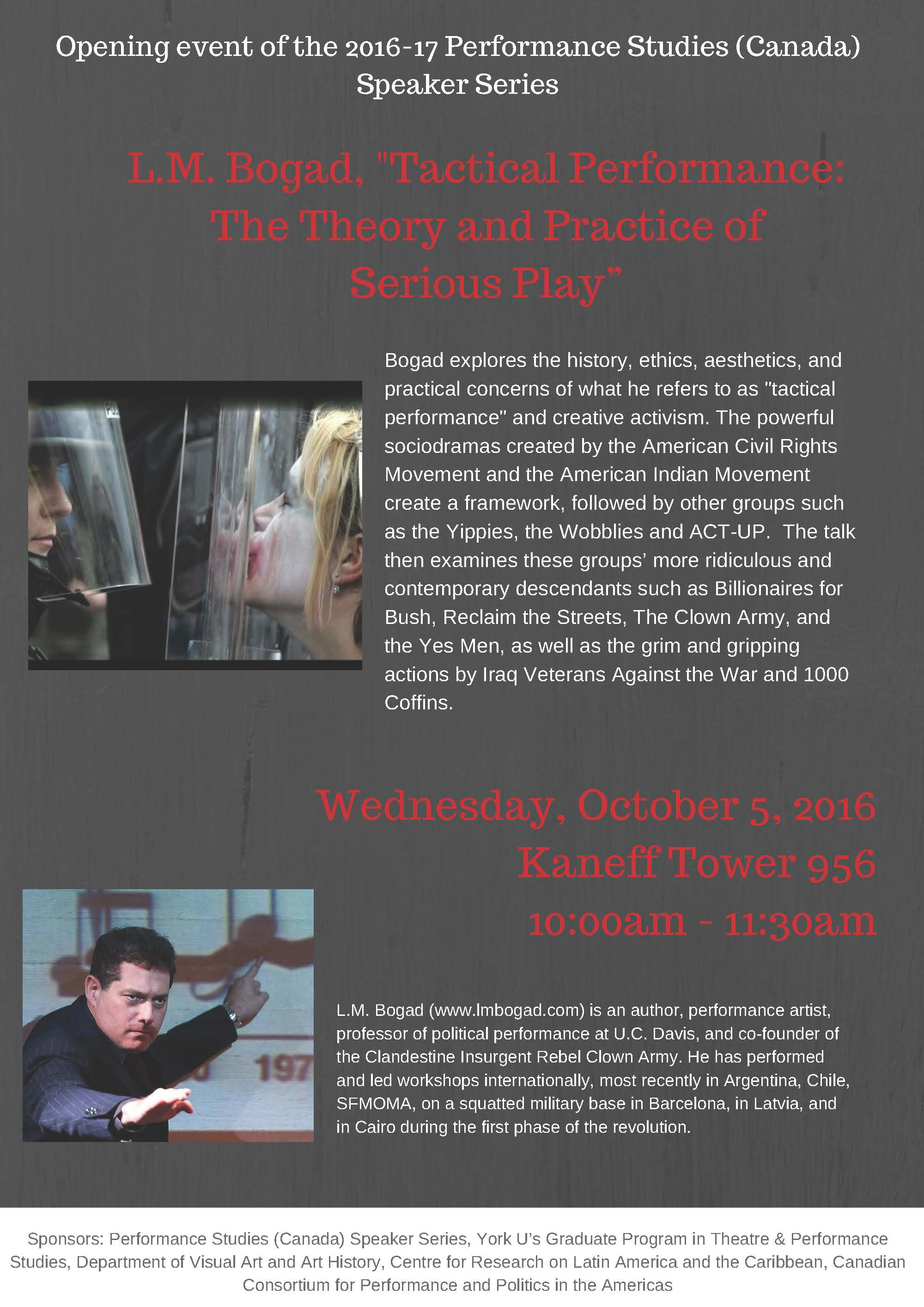 "L.M. Bogard, ""Tactical Performances: The Theory and Practice of Serious Play"". @ Kaneff Tower Room 956 (NinthFloor)"