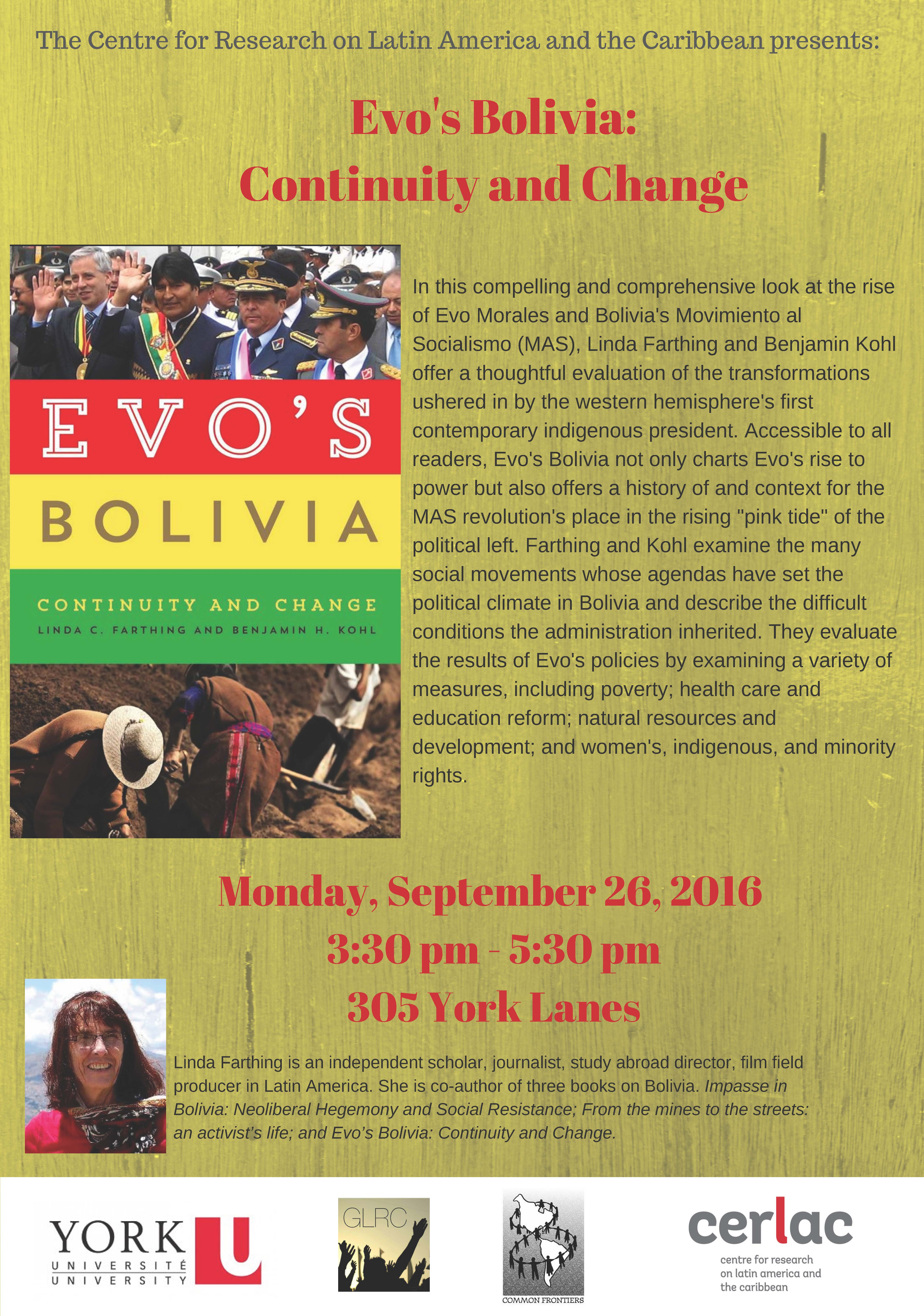 Evo's Bolivia: Continuity and Change. Talk by Linda Farthing @ 305 York Lanes