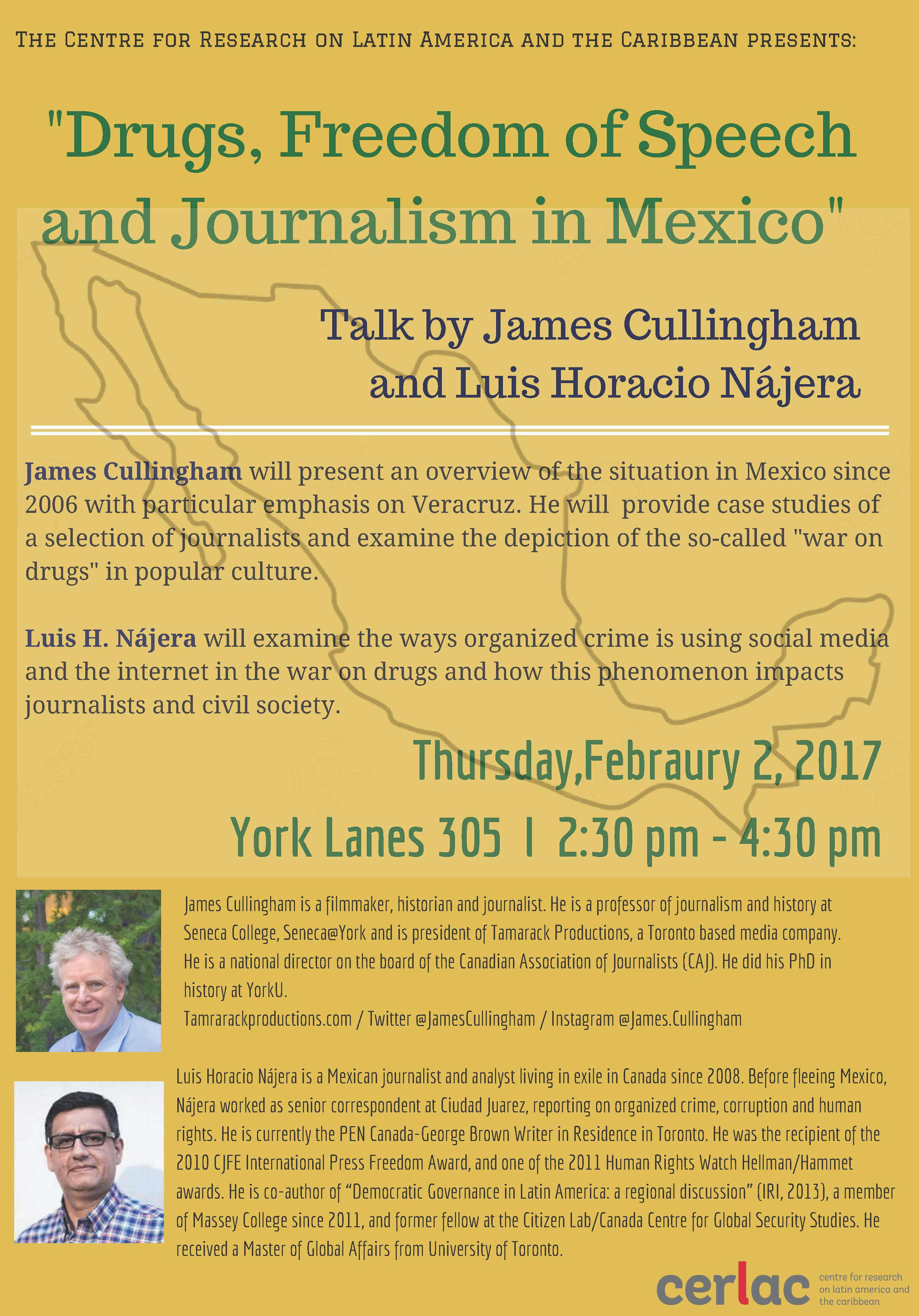 """Drugs, Freedom of Speech and Journalism in Mexico"". Talk by James Cullingham and Luis Horacio Nájera. @ York Lanes 305"