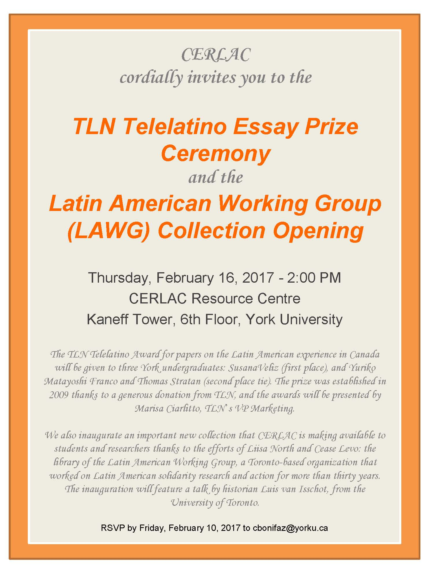 tln telelatino essay prize ceremony and latin american working tln telelatino essay prize ceremony and latin american working group lawg collection opening