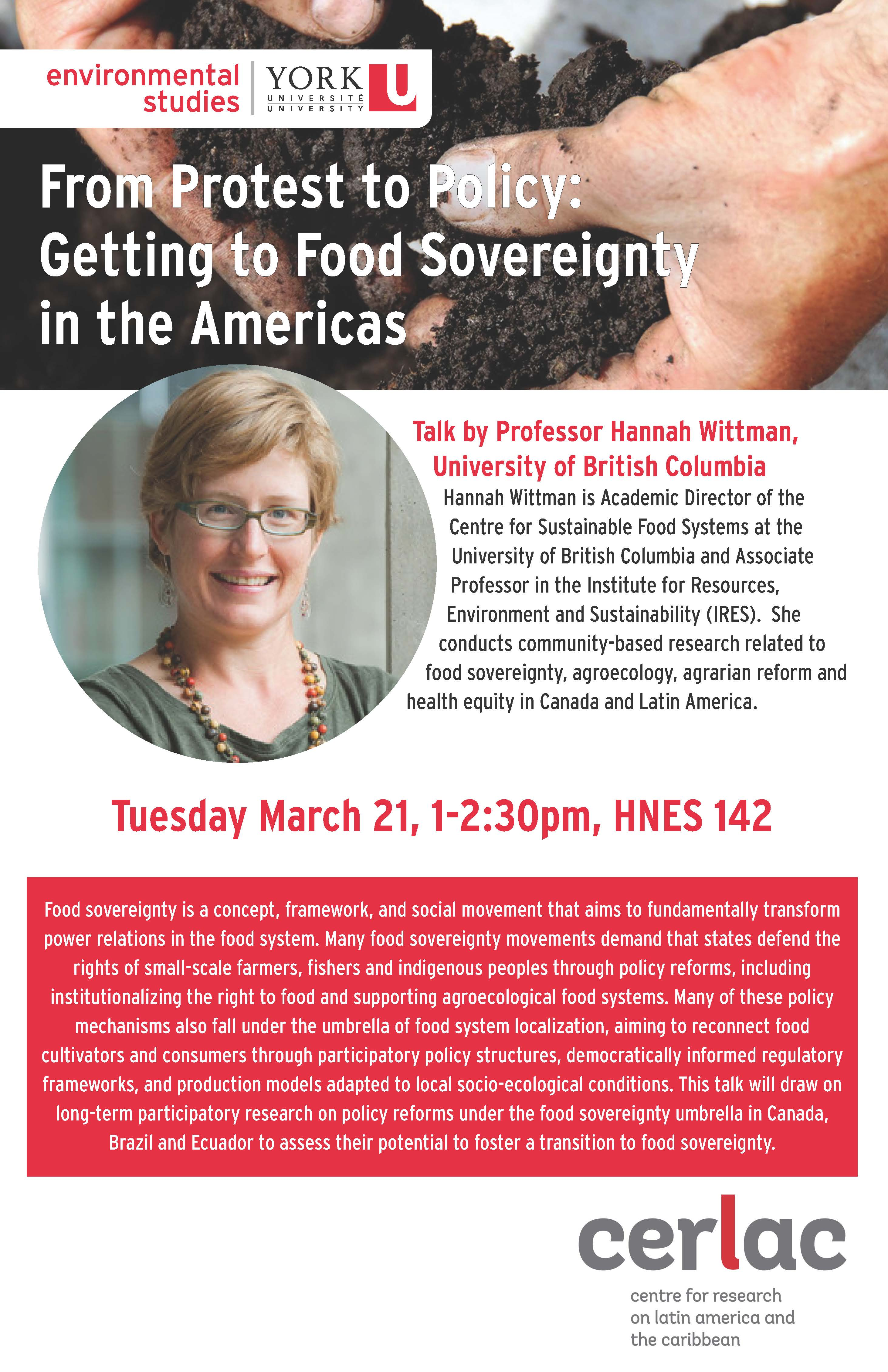 From Protest to Policy: Getting to Food Sovereignty in the Americas. Talk by Hannah Wittman. @ HNES 142
