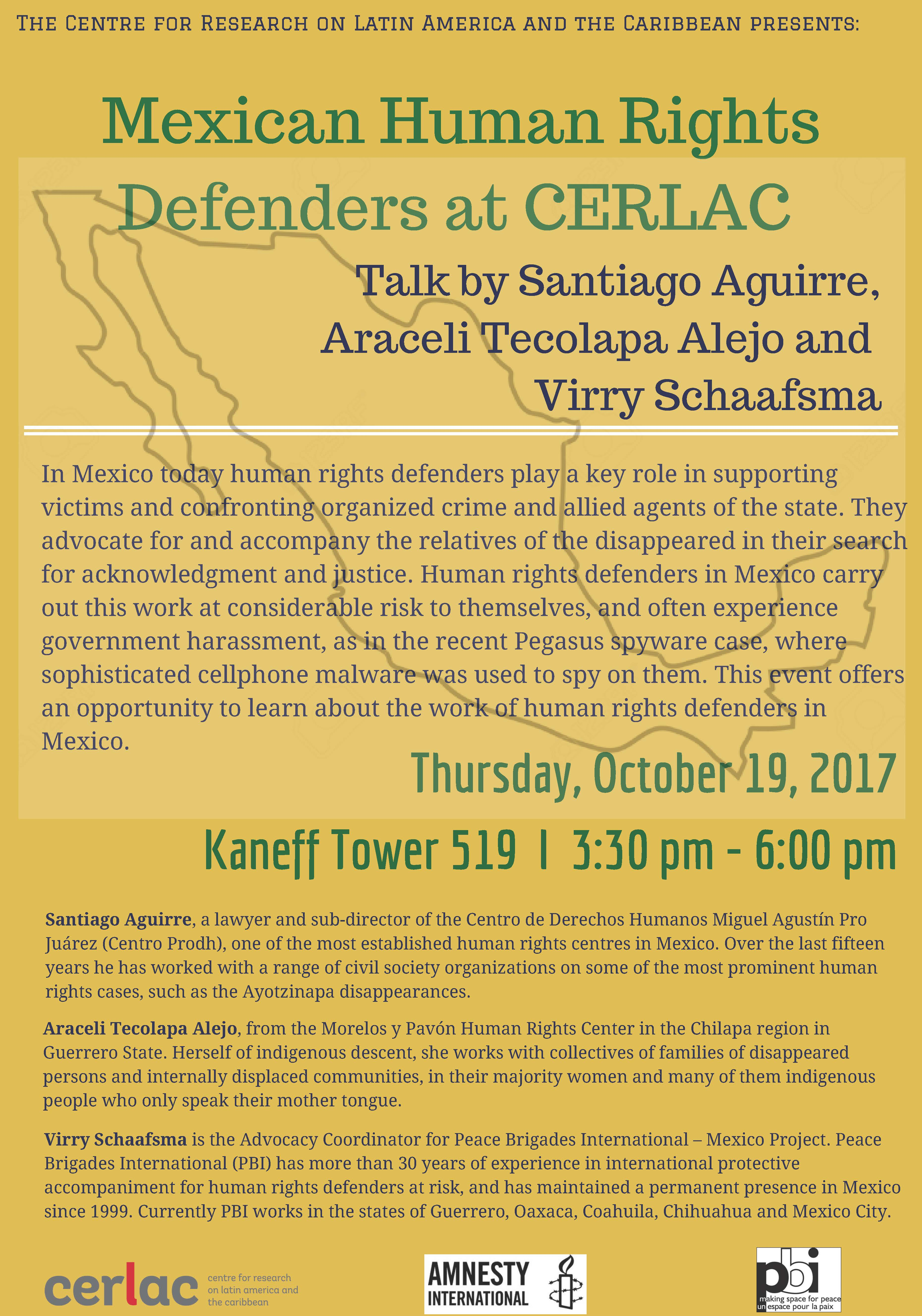 Mexican Human Rights Defenders at CERLAC @ Kaneff Tower 519