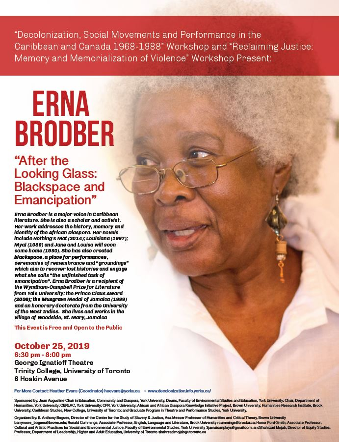 "Erna Brodber. ""After the Looking Glass"" @ George Ignatieff Theater - Trinity College - University of Toronto"