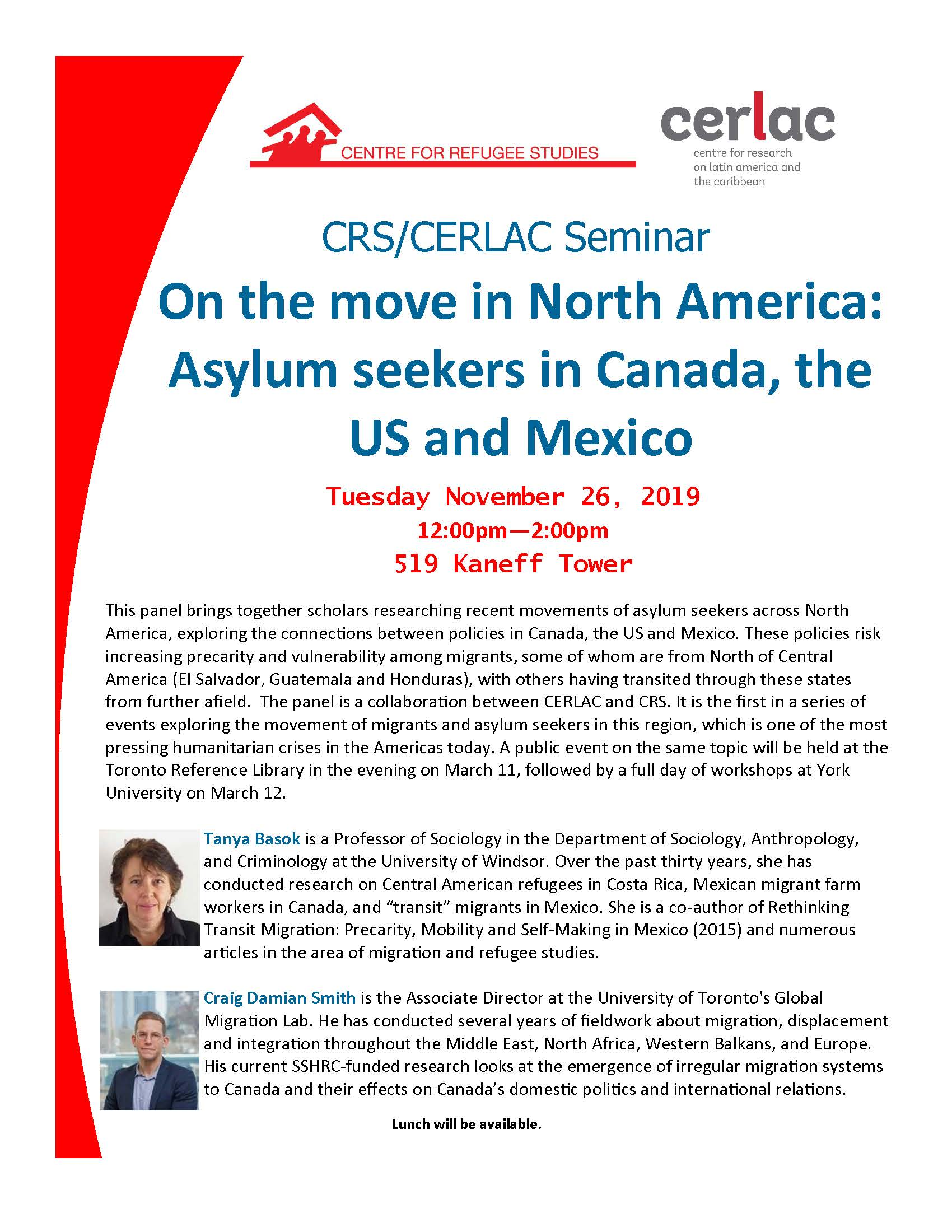 CRS/CERLAC Seminar: On the move in North America: Asylum seekers in Canada, the US and Mexico @ Kaneff Tower 519