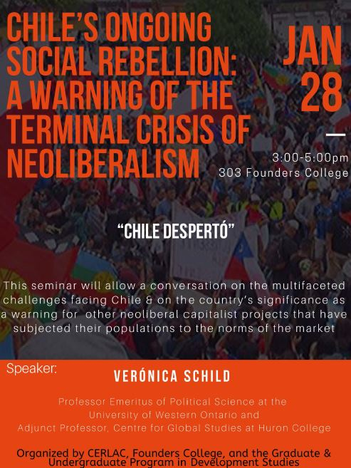 Chile's Ongoing Social Rebellion:  A Warning of the Terminal Crisis of Neoliberalism. Talk by Verónica Shield. @ 303 Founders College