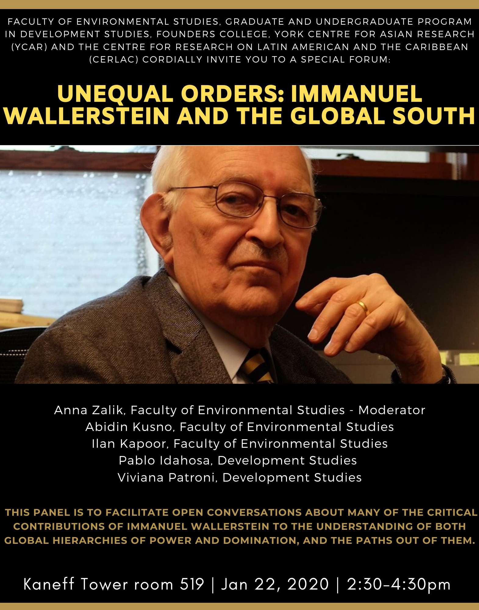 Unequal Orders: Immanuel Wallerstein and the Global South @ Kaneff Tower 519