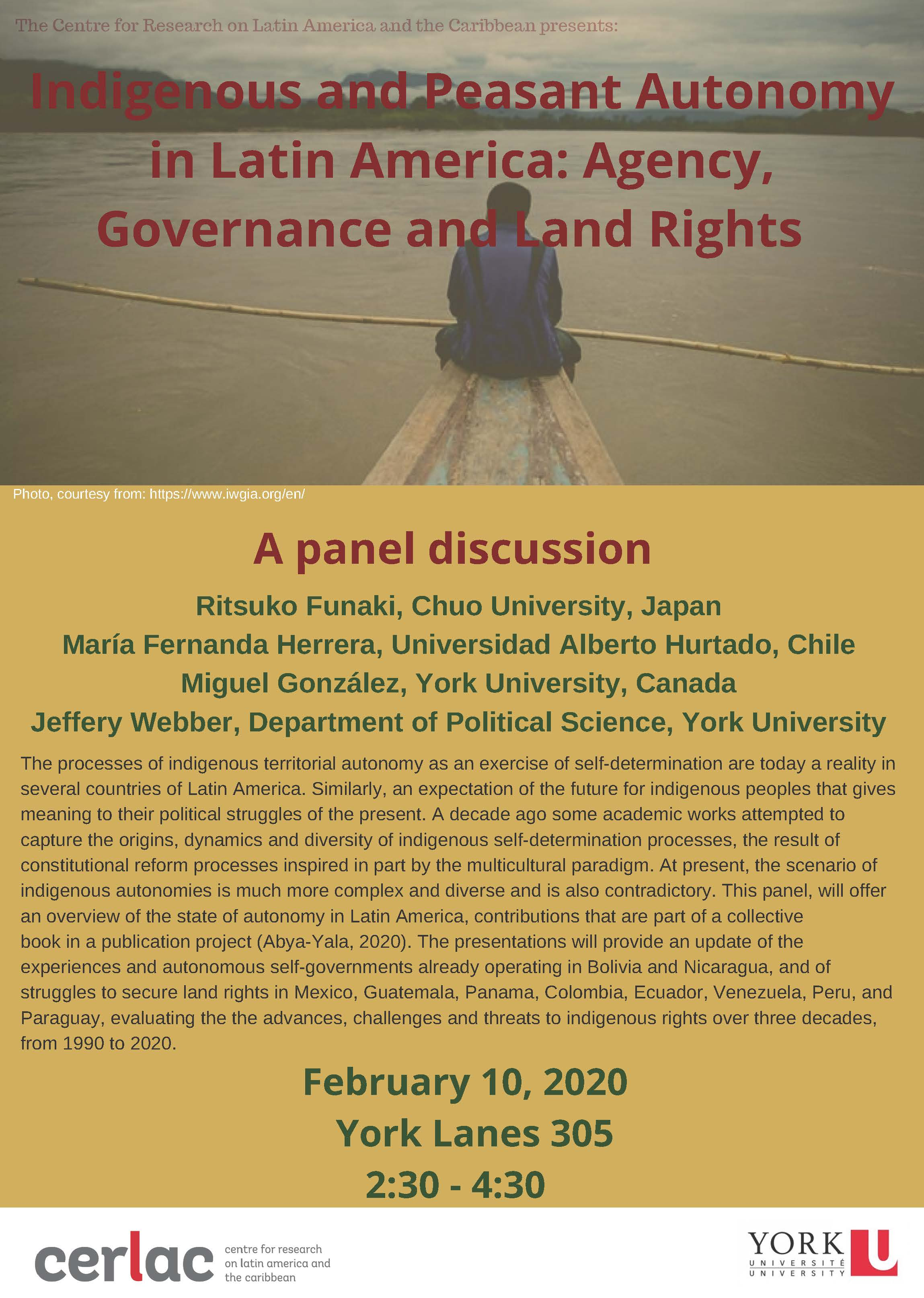 Indigenous and Peasant Autonomy in Latin America: Agency, Governance and Land Rights. @ York Lanes 305