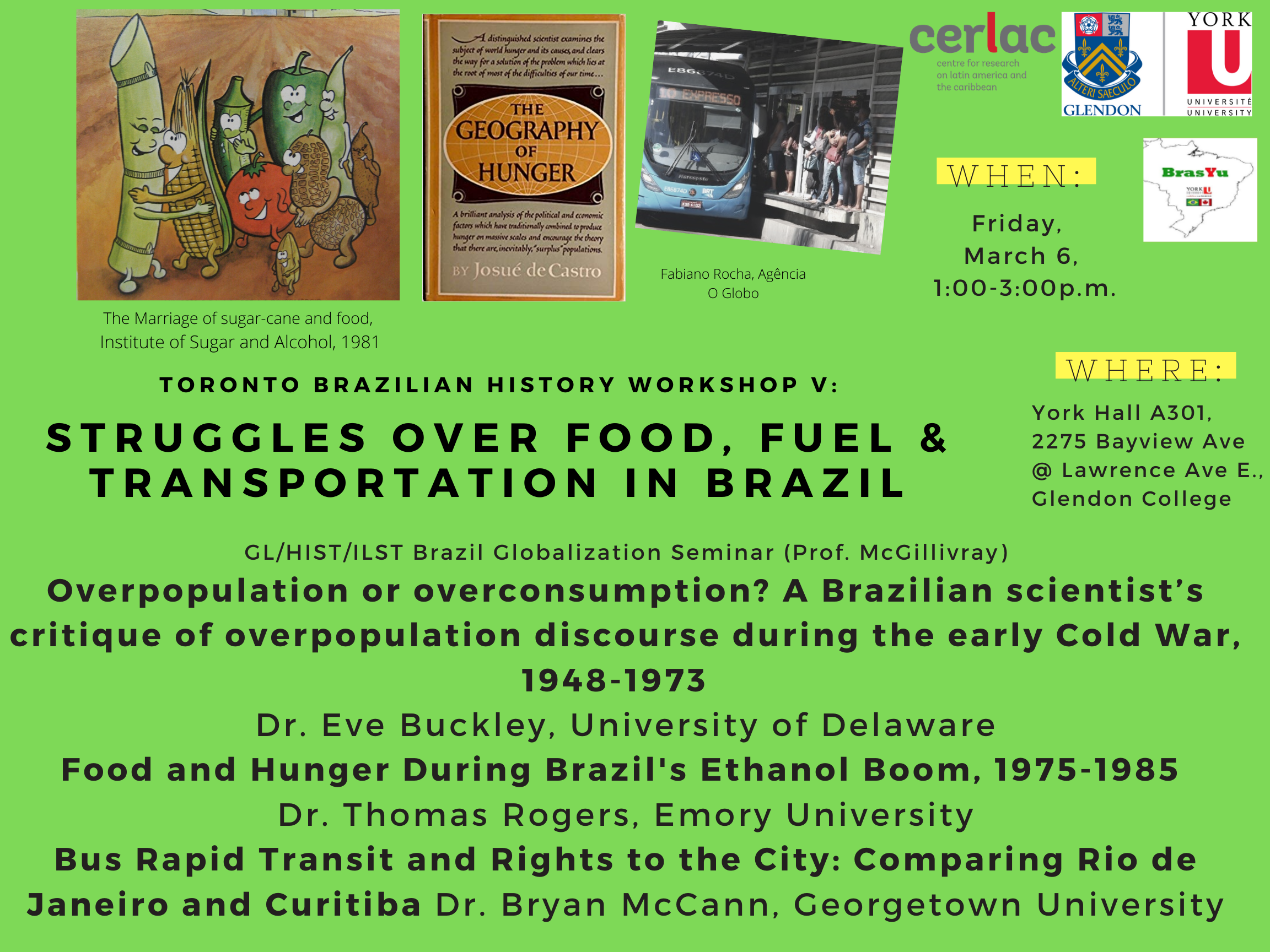 Struggles over Food, Fuel & Transportation in Brazil @ York Hall A301 - Glendon College
