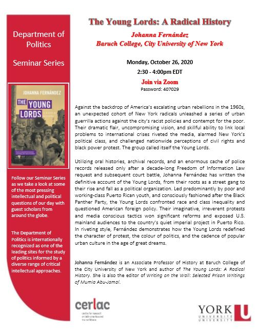 The Young Lords: A Radical History by Johanna Fernandez. @ via zoom